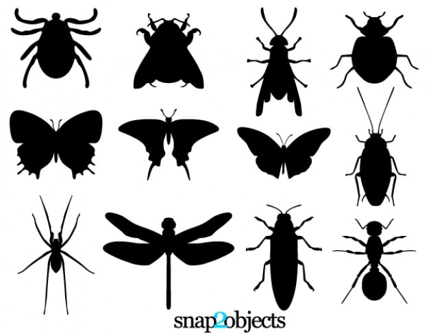 Free vector insect silhouettes