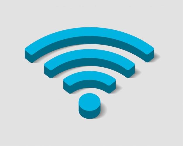 Free wi fi icon, connection zone wifi symbol, radio waves signal. Premium Vector