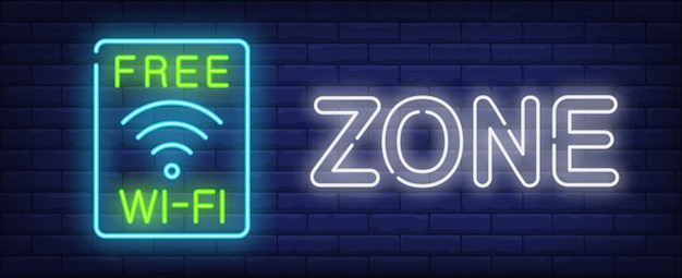 Free wi-fi zone neon sign. wireless wav symbol in blue frame on dark brick wall. Free Vector