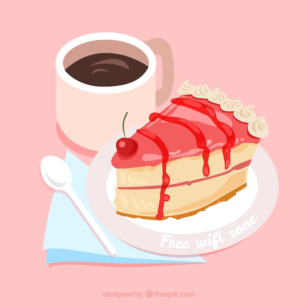 Free Clipart Tea And Cake : Free wifi background with piece of cake and coffee Vector ...