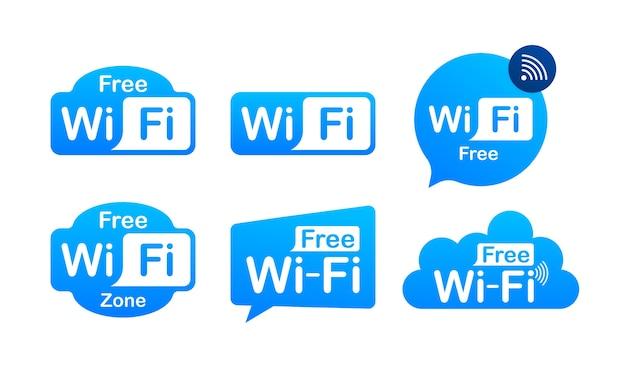無料のwifiゾーンの青いアイコン。ここで無料のwifiサインコンセプト。 Premiumベクター