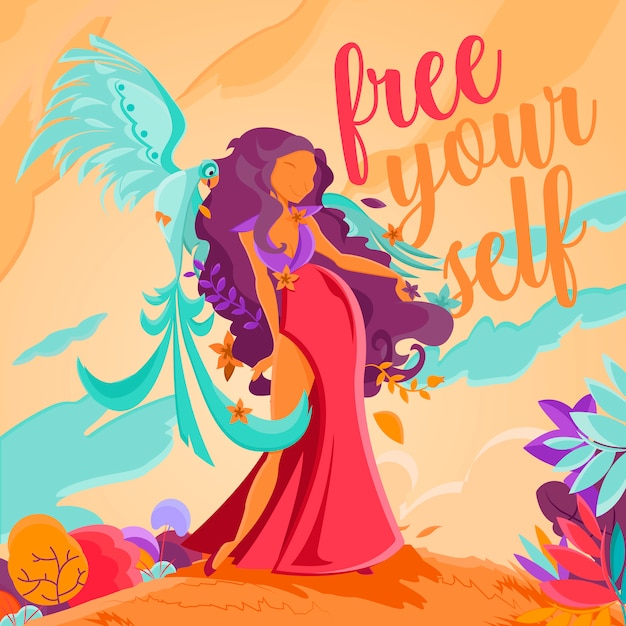 Free yourself in the summer Premium Vector