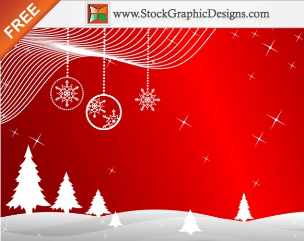 Freebie  Winter Red Background Vector with Christmas Trees Free Vector
