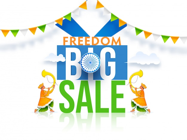 Freedom big sale poster  with ashoka wheel and men blowing tutari horn on glossy white background. Premium Vector