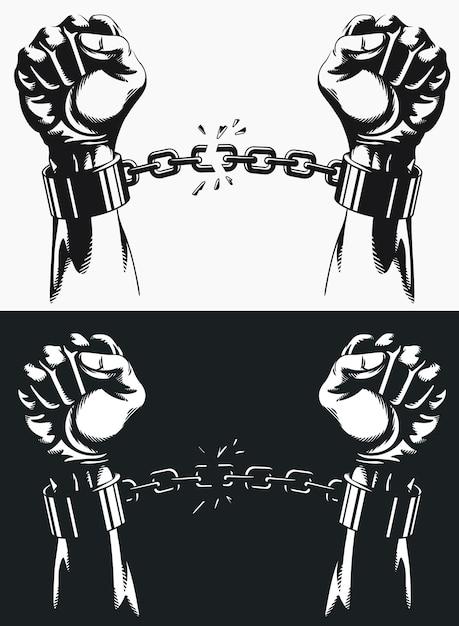 Свобода рука вырывается из цепей наручников. Premium векторы