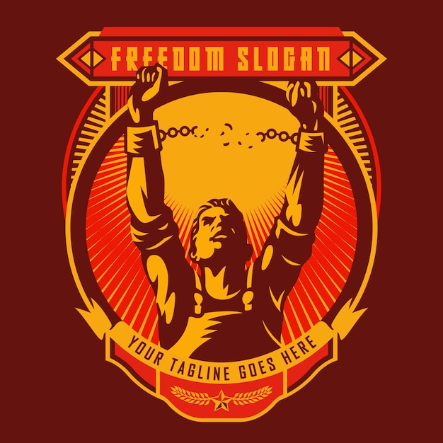 Freedom revolution union badge Premium Vector