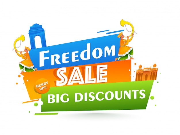 Freedom sale poster  with big discount offer, india famous monuments and men blowing tutari horn on white background. Premium Vector