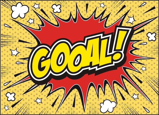 Freehand drawn comic book speech bubble cartoon word goal