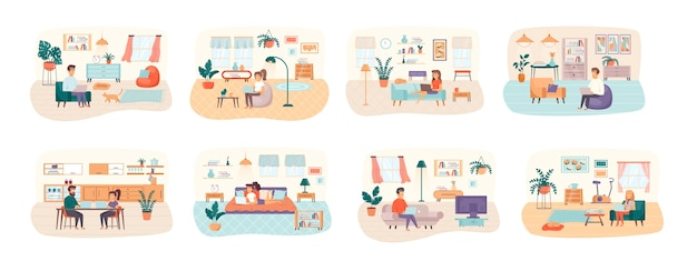 Freelance bundle of scenes with flat people characters situation Premium Vector