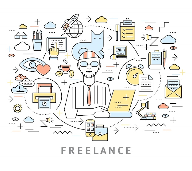 Freelance conceptual background Free Vector
