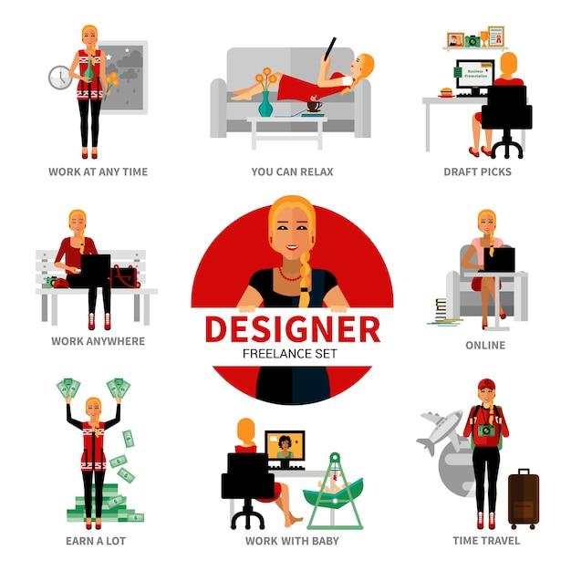 Freelance designer set Free Vector