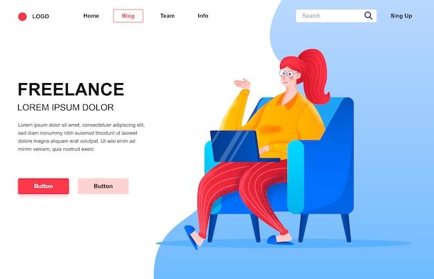 Freelance flat landing page composition. Premium Vector