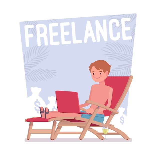 Freelance happy man Premium Vector