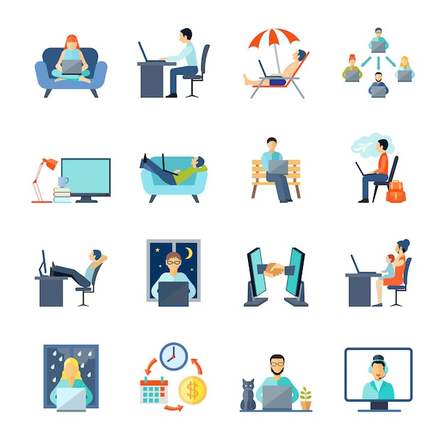 Freelance icons set with working at home rest and laptop Free Vector