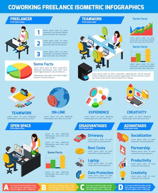 Freelance infographic set Free Vector