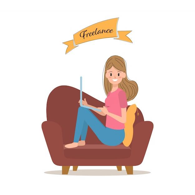 Freelance job character with laptop. Premium Vector
