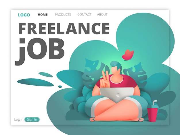 Freelance job web page template. designer male character with laptop sitting in jungle forest Premium Vector
