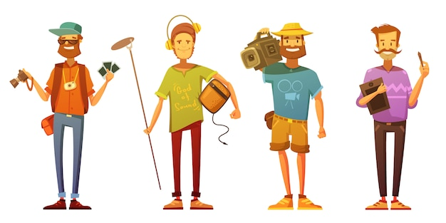 Freelance journalist reporter cameraman and artist dressed casually Free Vector