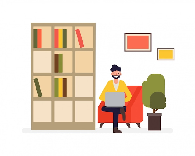Freelance man working on sofa and job doing with a laptop. Premium Vector
