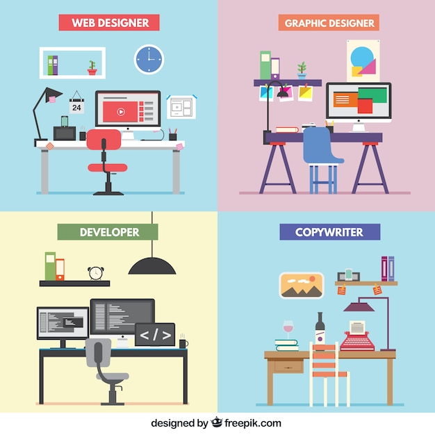 Freelance office Free Vector