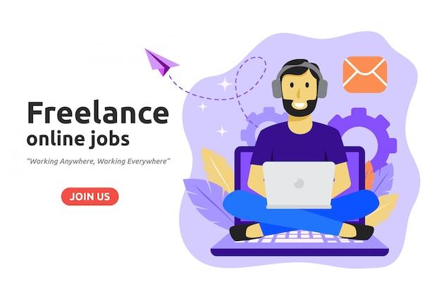 Freelance online job design concept. Premium Vector