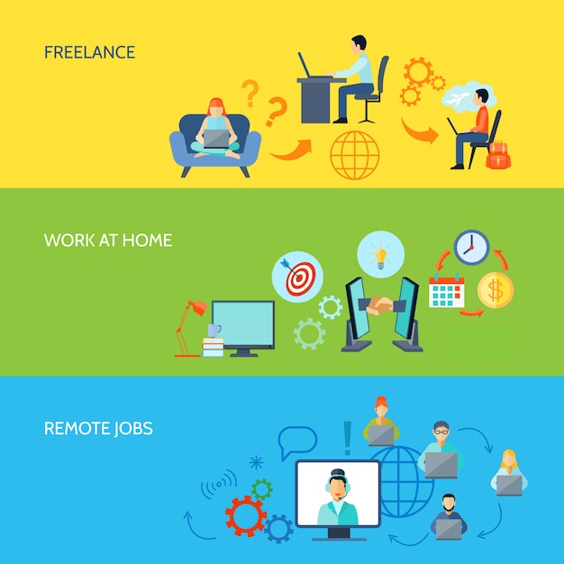 Freelance online work at home and remote jobs flat color banner Free Vector