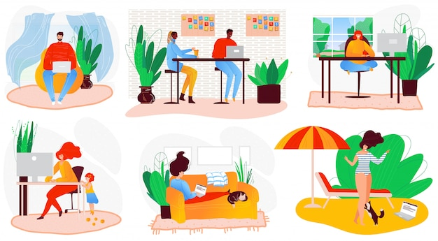Freelance people self-isolation at home cartoon character  illustration. laptop on sofa remote freelance work, cool job, remote workers labor set. Premium Vector