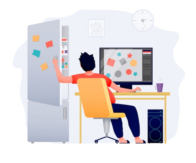 A freelance person works at home at the computer. a fridge with delicious food is distracting. Premium Vector