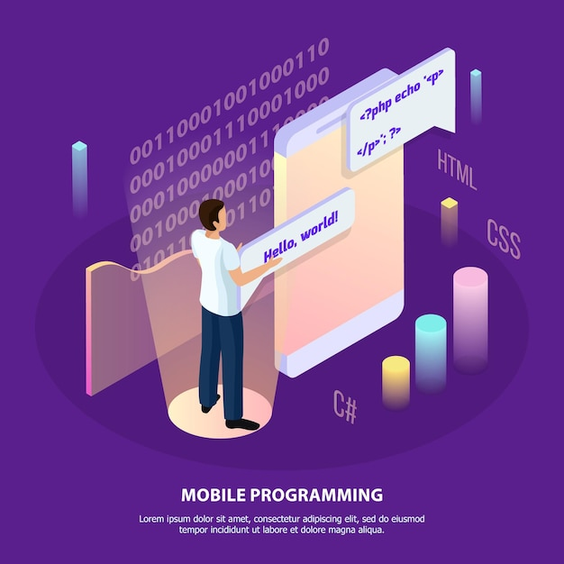 Freelance programming isometric  composition with human character and interactive interface with infographic icons and text Free Vector