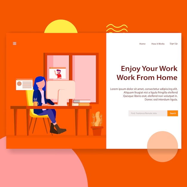 Freelance remote job seeker website landing page Premium Vector