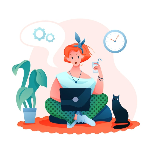 Premium Vector Freelance Remote Work Young Woman Character Working Online In Apartment Freelancer