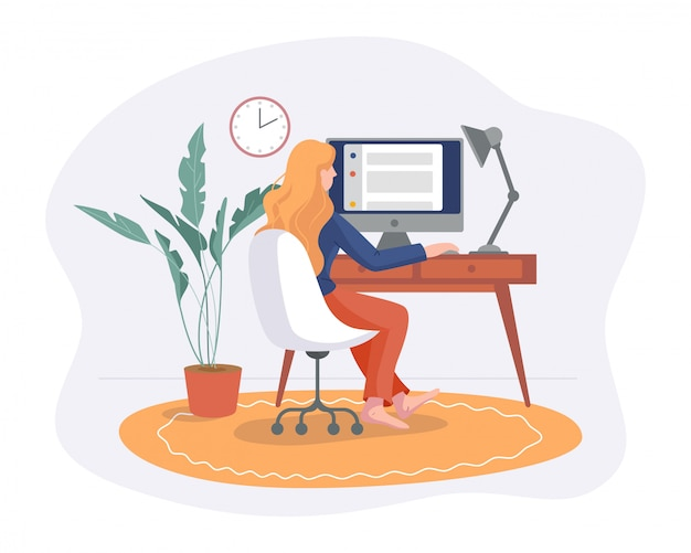 Freelance woman work from home comfortable space in chair with computer on table flat style isolated on white. freelancer girl self employed concept working online. Premium Vector