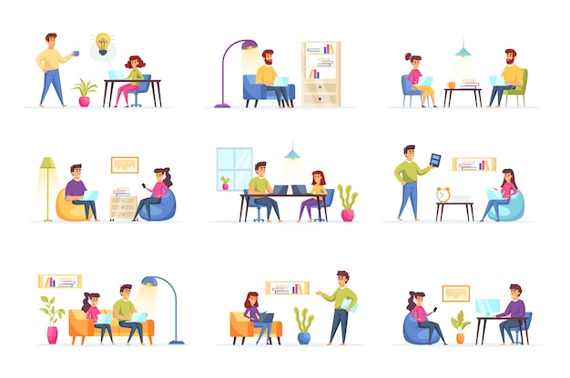 Freelance work collection people characters Premium Vector