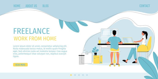 Freelance work from home in comfort condition. man woman freelancer character working online on computer laptop sit at desk. self-employment, digital profession, remote job on internet. landing page Premium Vector