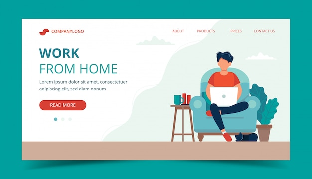 Freelance work - man with laptop on the chair. landing page template. Premium Vector
