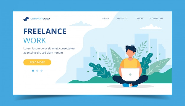 Freelance work page template. man working with laptop in the park. Premium Vector