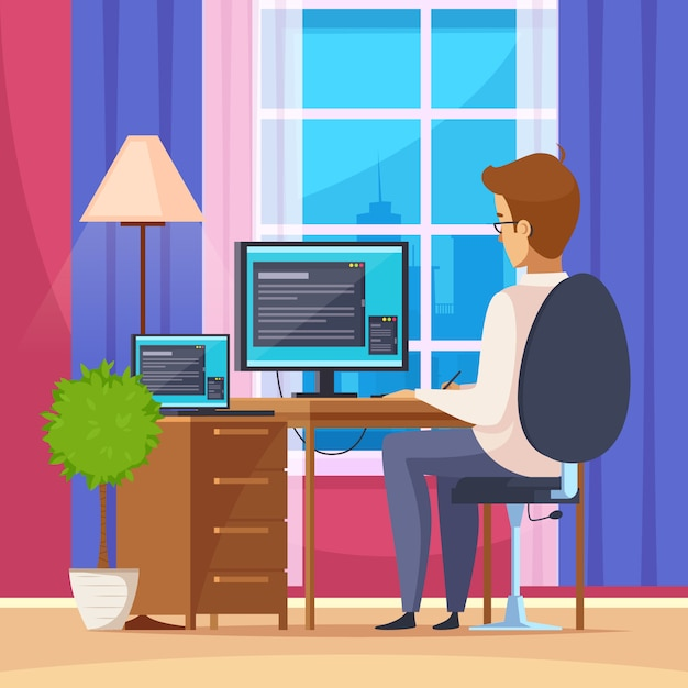 Freelance working at home Free Vector