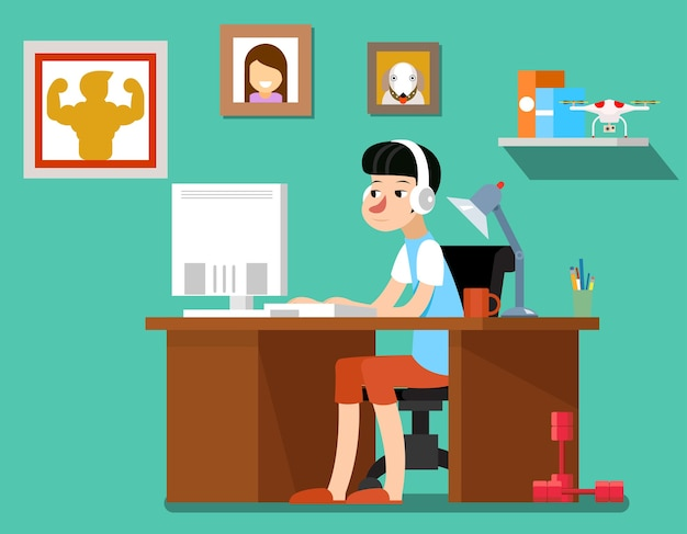 仕事中のフリーランサー、コンピューター、ウェブテクノロジー、職場の従業員を持つ創造的なフリーランサーデザイナー。フリーランサーのベクトル図 無料ベクター