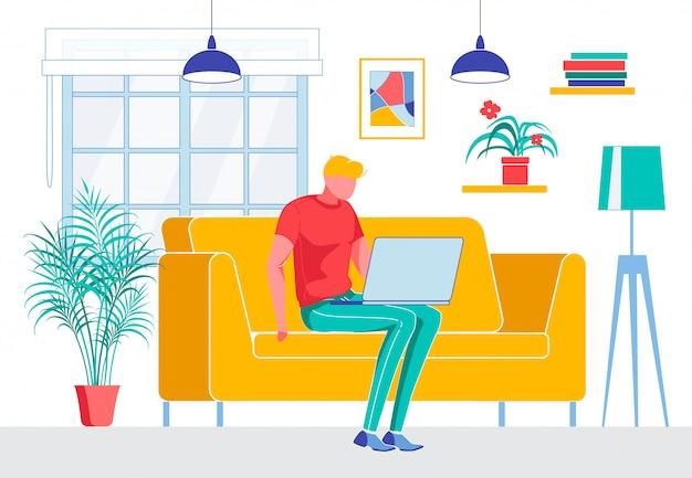 ノートブックとソファに座っているフリーランサー漫画男 Premiumベクター