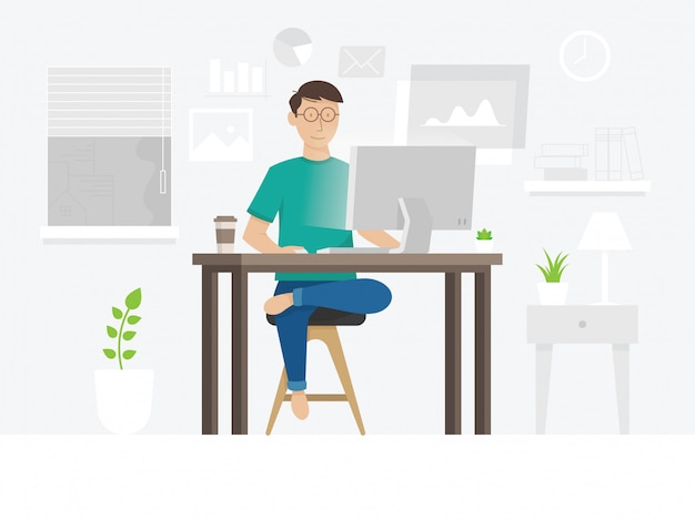 A freelancer guy working at home Premium Vector