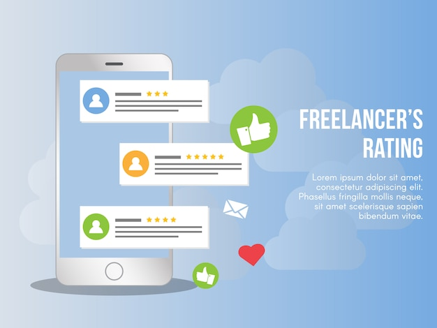 Freelancer rating concept illustration vector design template Premium Vector