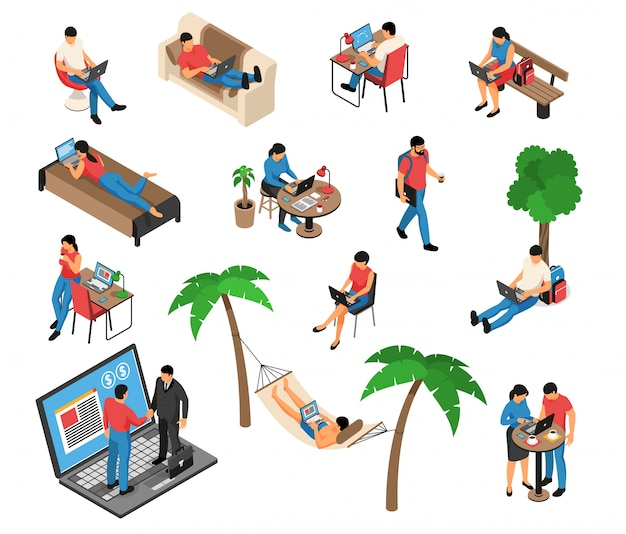 Freelancer remote creative job under tree in hammock home on sofa with laptop isometric set vector illustration Free Vector