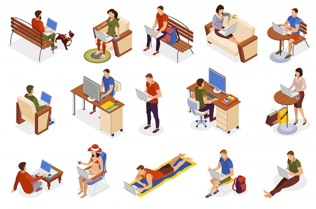 Freelancer typical day isometric icons collection with working home outdoor in park cafe on beach Free Vector