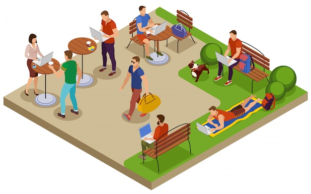 Freelancer typical summer day isometric composition with outdoor workplace in city park lawn cafe table Free Vector