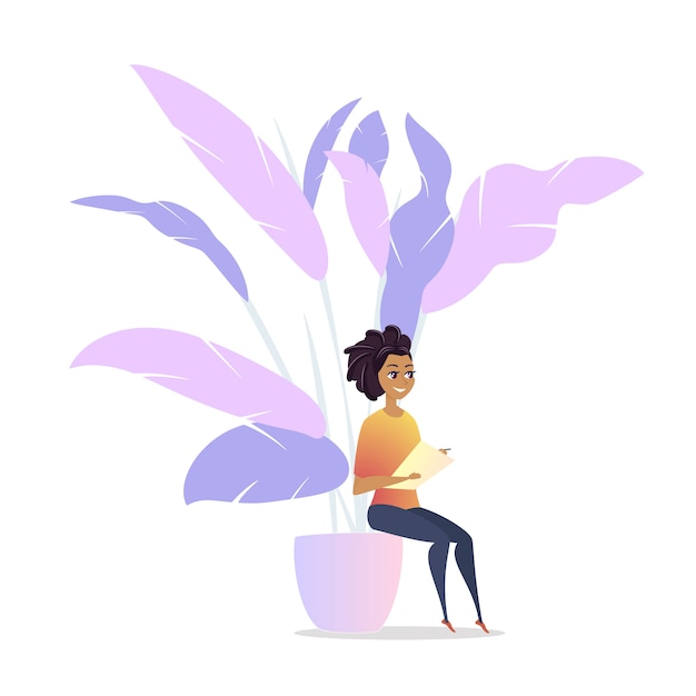 Freelancer woman character chill lounge space Premium Vector