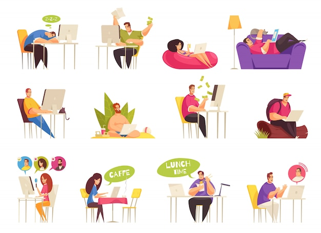 Freelancer at work flexible remote home traveling relaxing on beach icons big set flat cartoon Free Vector
