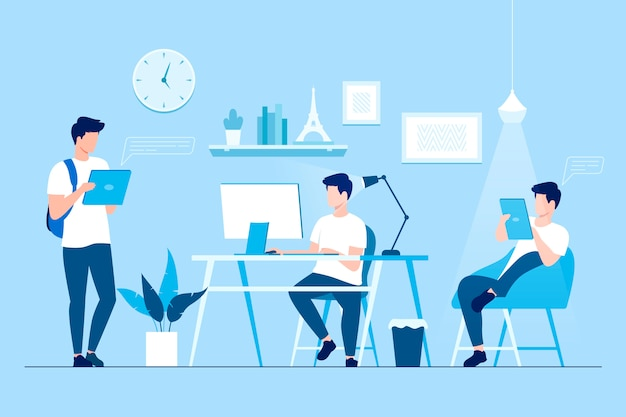 Freelancer at work flexible remote home Premium Vector