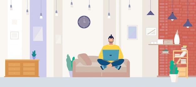 Freelancer working on laptop at home flat Premium Vector