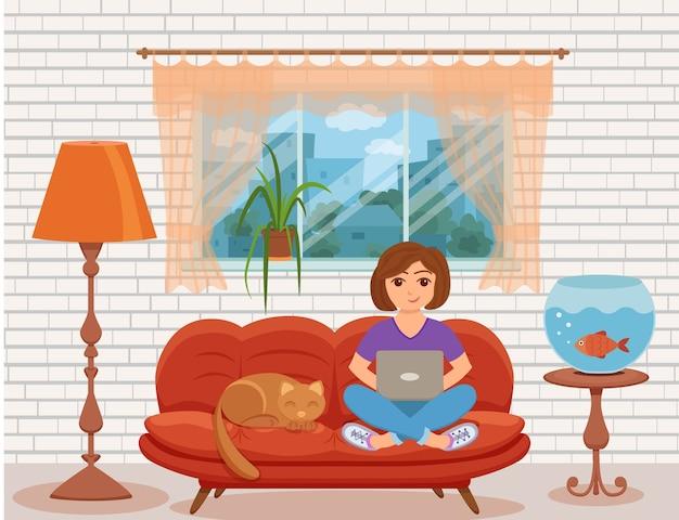 自宅で仕事フリーランスの女性 Premiumベクター
