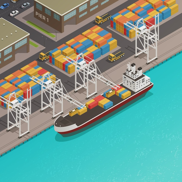 Freight loading dock at harbor Free Vector